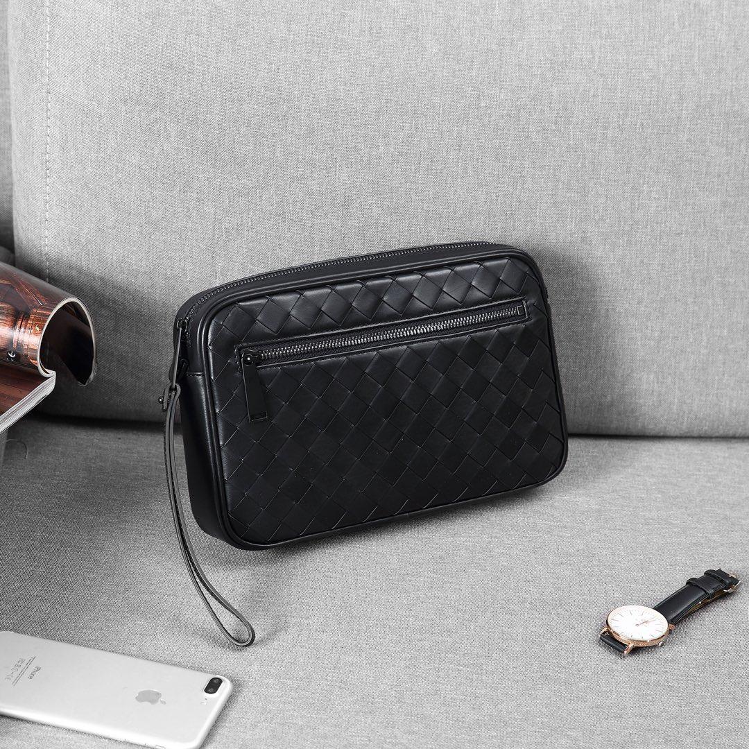 En kaliteli toptan erkekler fermuar cüzdan domuzu inek derisi hakiki deri tığ çanta çanta ücretsiz kargo handwoven çanta zip bilek siyah
