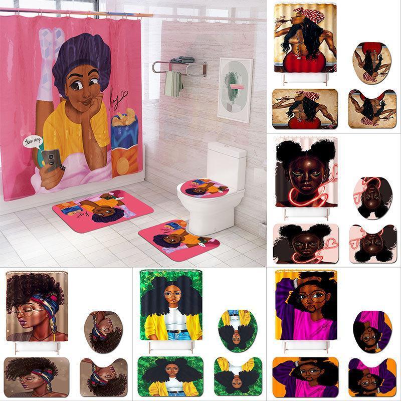2020 Nueva alfombra africana de las mujeres Conjunto de 4 piezas Asiento de inodoro Tapa de inodoro Cubierta de la estera del piso Baño Ajuste de la estera antideslizante Conjunto de baño Conjunto de cortinas de ducha