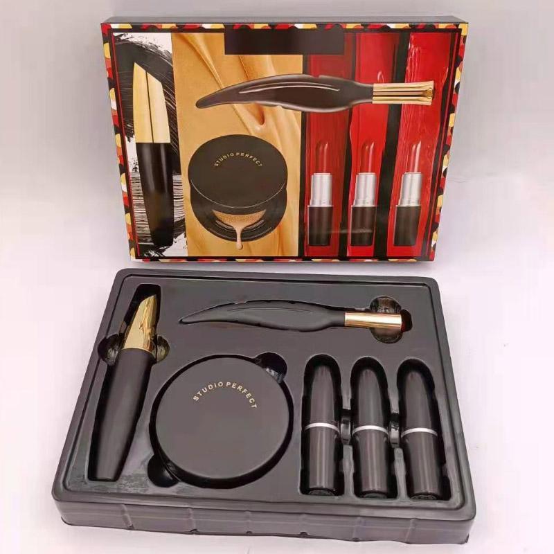 10pcs DHL Brand 6pcs Makeup Set Cosmetic Bundle 3 lipsticks+1 mascara+1 eyeliner+1 cusion makeup kit Christmas Gift