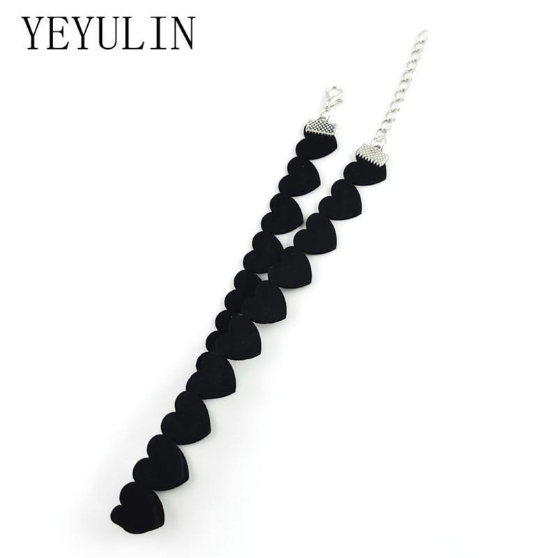 Chokers Fashion Black Velvet Love Heart Choker Ожерелье слой Chockers Vintage Ювелирные Изделия Готический Для Женщин Коллер Femme