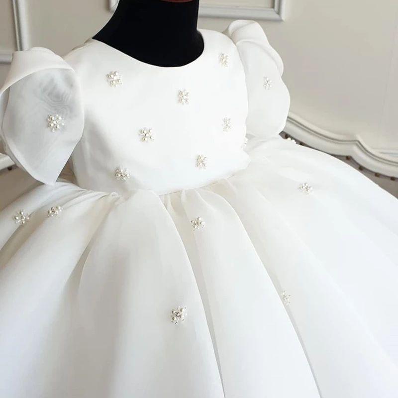 Puf Bebek Kız Giyim Vaftiz Prenses Elbise Doğum Günü Partisi İnciler Düğün Boncuk Balo Çocuklar Pageant Tül Tutu Elbise Kızlar Için