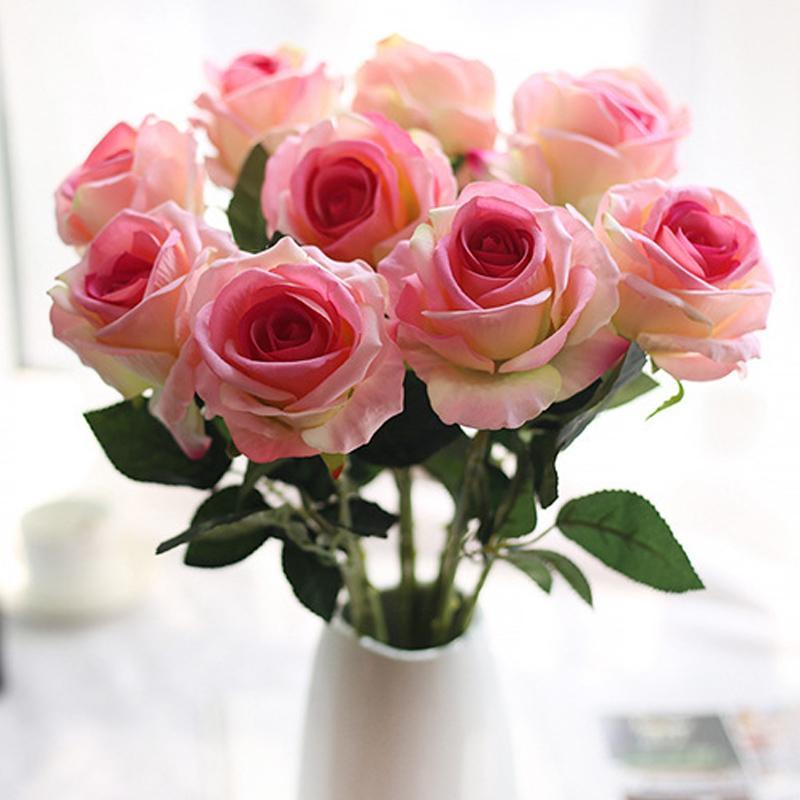 20 шт. 51см длинные ветви цветы букет красивые белые шелковые розы искусственные цветы свадебный домашний стол декор устроить поддельный цветок