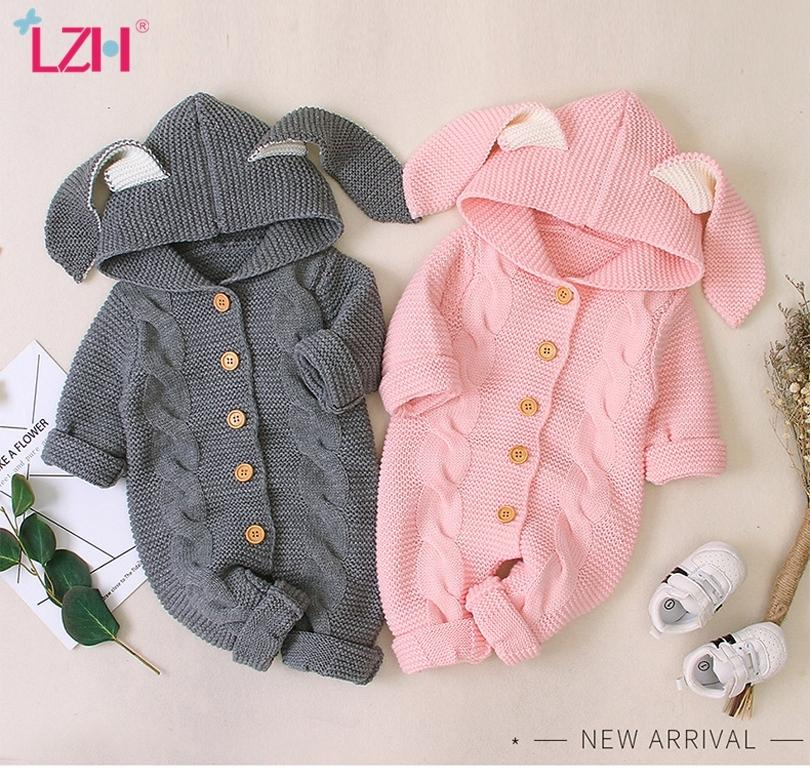 Autumn Newborn Baby Clothes Cardigan Hooded Baby Rompers Baby Girl Boy Clothes Fashion Infant Costume Kids Toddler Knit Jumpsuit Z1121