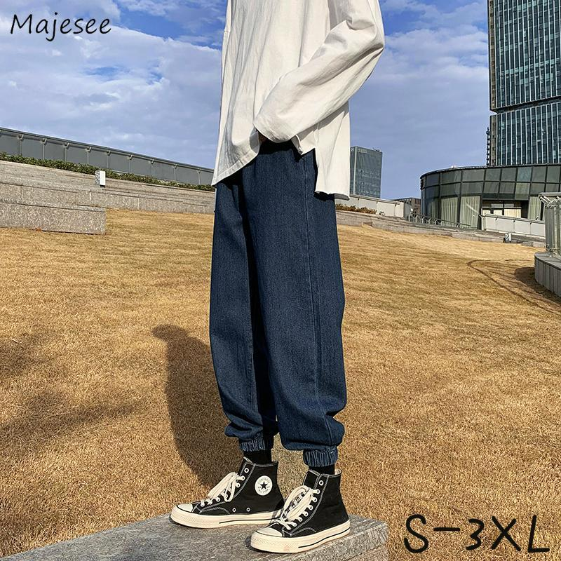 Men Jeans Oversize S-3XL Elastic Waist Bundle Feet Ankle-length Korean Style Baggy Straight Retro Denim Ins Chic Hip Hop Trouser