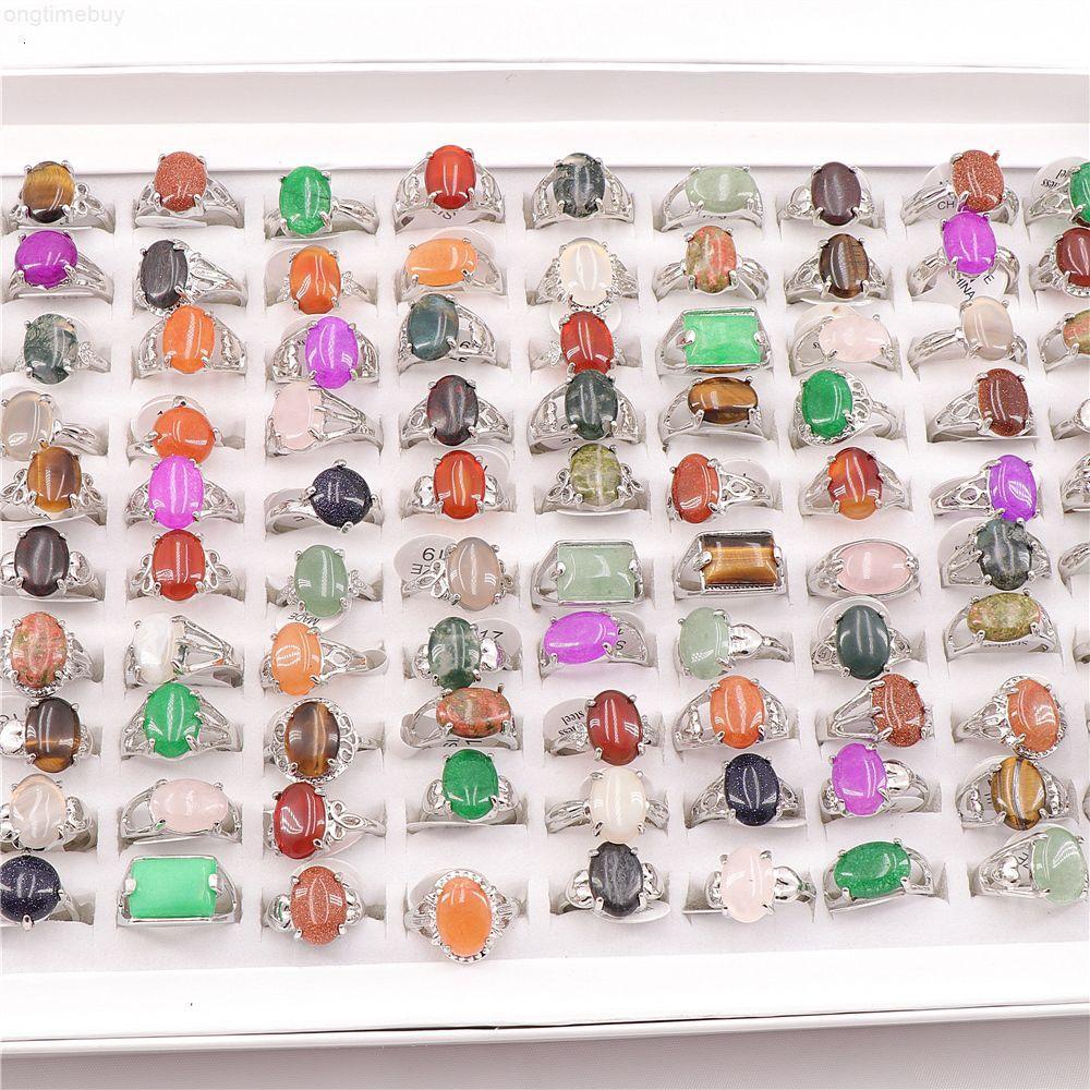 Jóias estilo feminino moda natureza liga de pedra mistura anéis de banda para mulheres festa presente casamento tamanho 16mm a 20mm