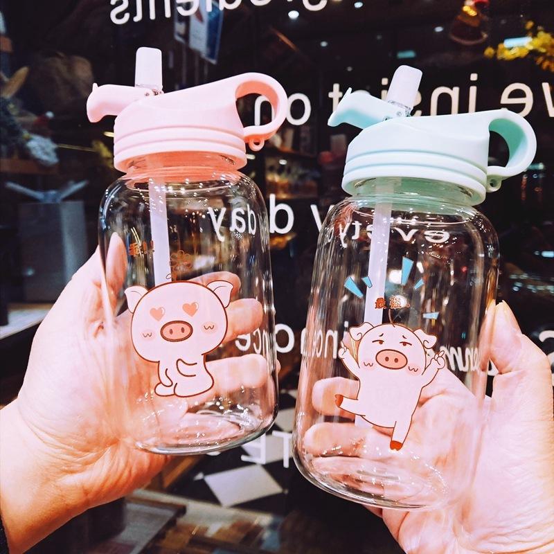 Boxi Nuevo 450 ml Botella de agua de dibujos animados lindo con botellas de vidrio de paja Portátil para niños estudiante Kawaii Viaje a prueba de agua Taza de agua F1217