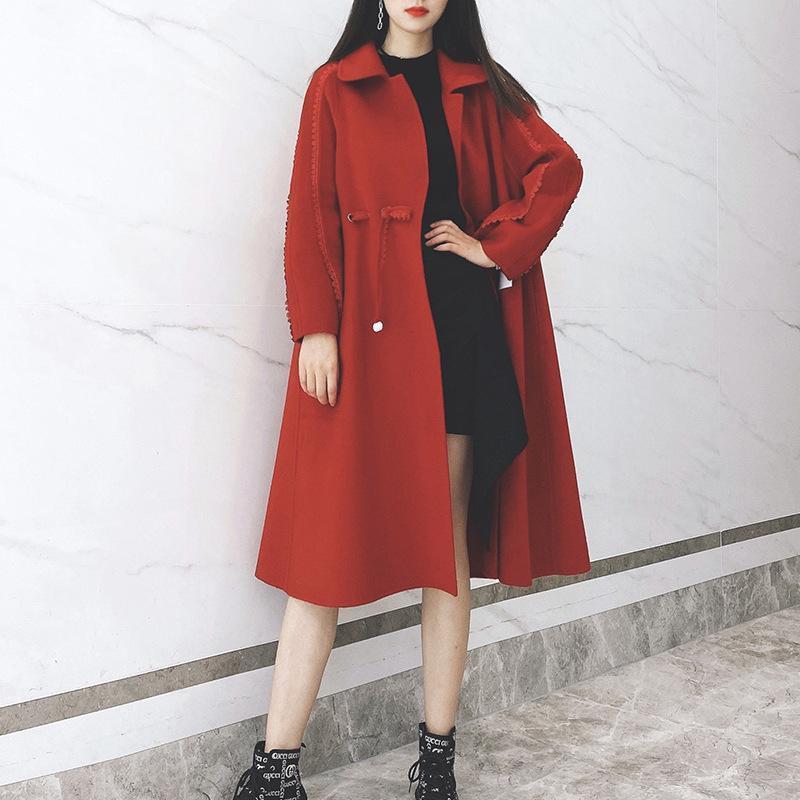 2021 Casaco Duplo Europa e Estados Unidos para receber a cintura casacos de casca de manga longa casaco de pano Qiu dong