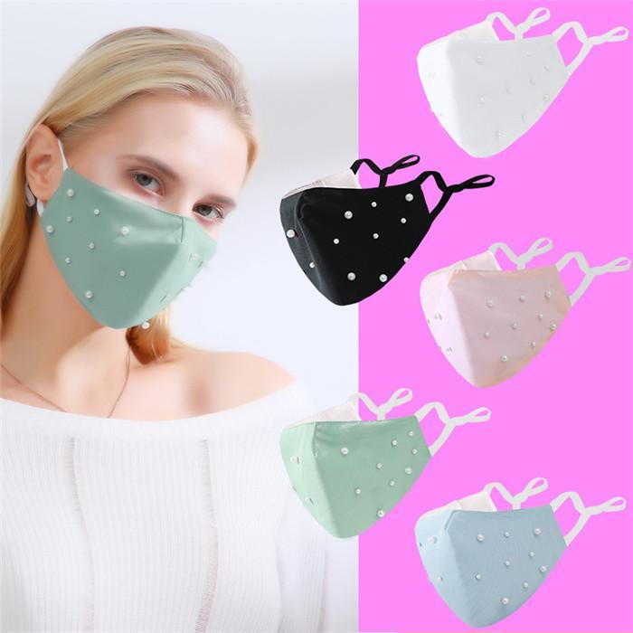 Fashion Adultos Algodão Pérolas Rosto Máscaras Ano Novo Dia dos Namorados Ao Ar Livre Desgaste Interior Do Partido Can Put Pm2.5 Filtros EWA2564
