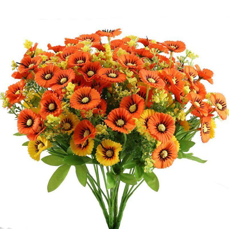 Marguerite artificielle fleurs buissons 4pcs bundles floraux fausse plantes arrangement faux arbuste intérieur intérieur maison cuisine bureau garde garde