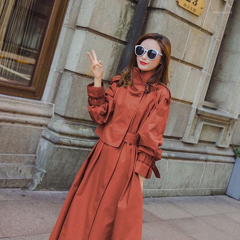 New Fashion 2019 Autunno Autunno Donne Solid Casual Semplice Classic Maxi Trench Cappotto lungo Chic Femmina Venerbreaker1