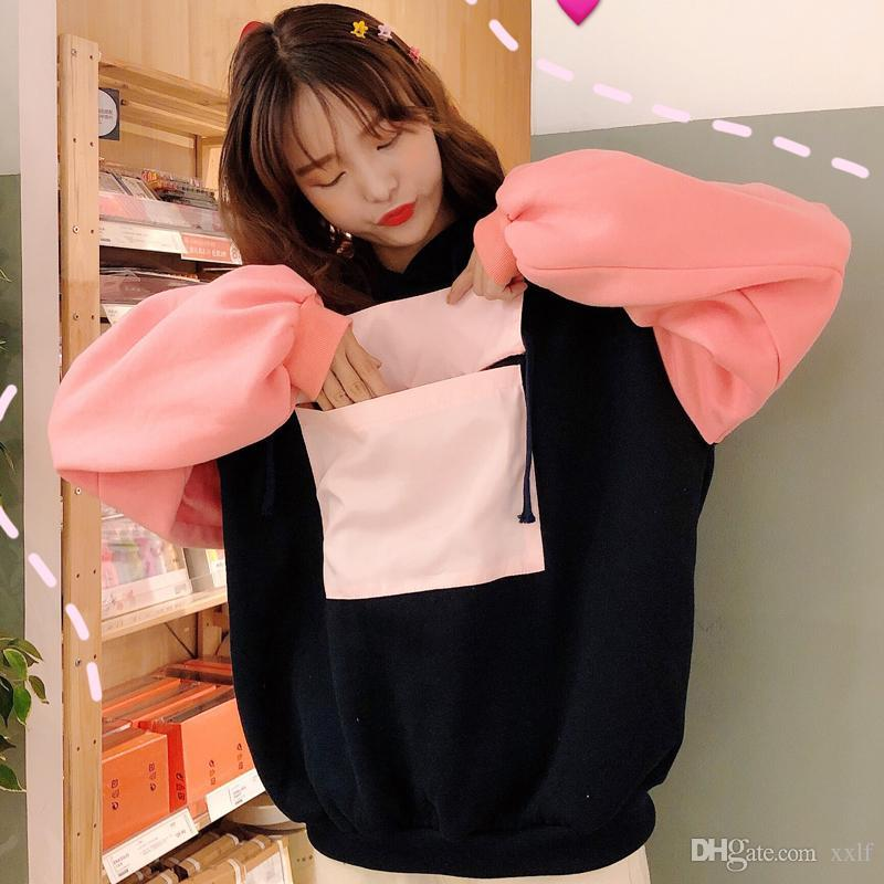 Harajuku Frauen Frauen Hoodie 2020 Winter Lose Koreaner Stil Hoodies Große Tasche Plus Samt Dicke Sweatshirts Outwear Ulzzang