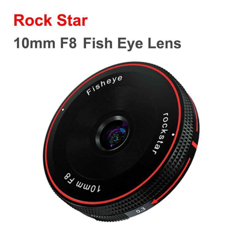 Outras câmeras CCTV Rock Star 10mm F8 Peixe Lente de olho fixo Foco Câmera Lenes para Sony E Fuji FX M4 / 3 Canon Eos M Nikon Z Mount Micro SLR