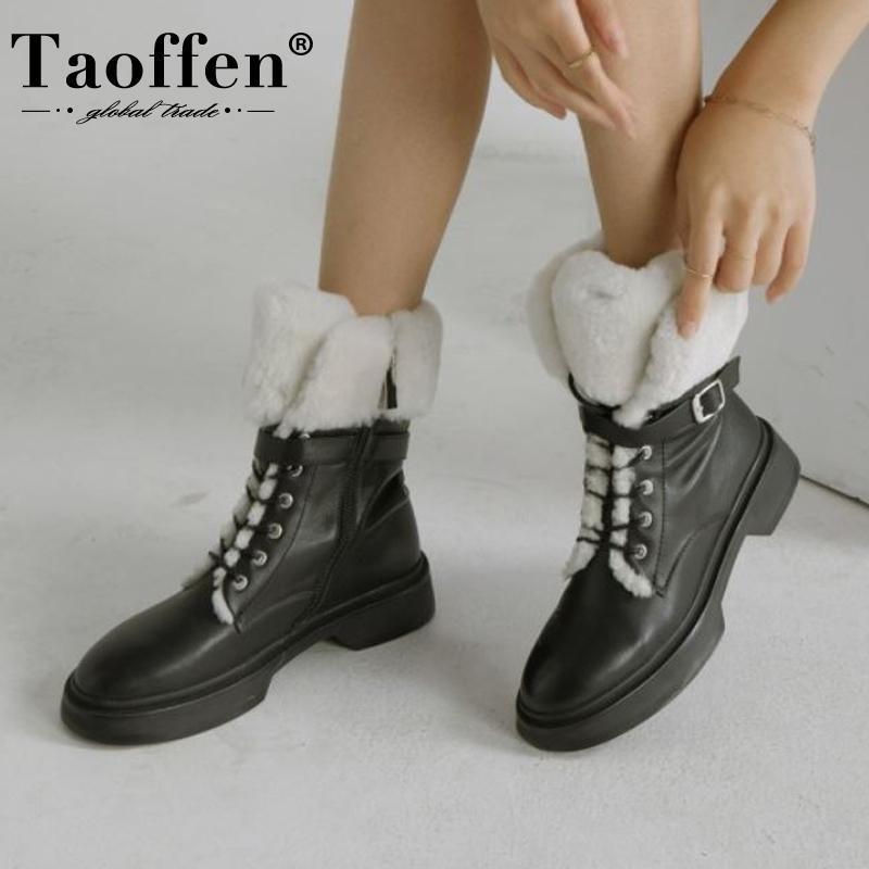 Taoffen Real Couro Mulheres Botas de Neve Moda Morosa Pele Zipper Winter Sapatos Mulheres Gréssic Pele Tornozelo Boot Senhora Calçado tamanho 34-39