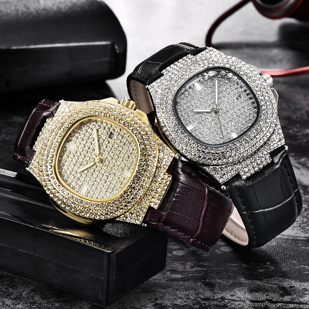 Outlet usine Luxe de Luxe Diamond Watch Fashion Cuir Square Cuir Quartz 2 Colorie Men's Business Watch Support Personnalisé En Gros Vente au détail