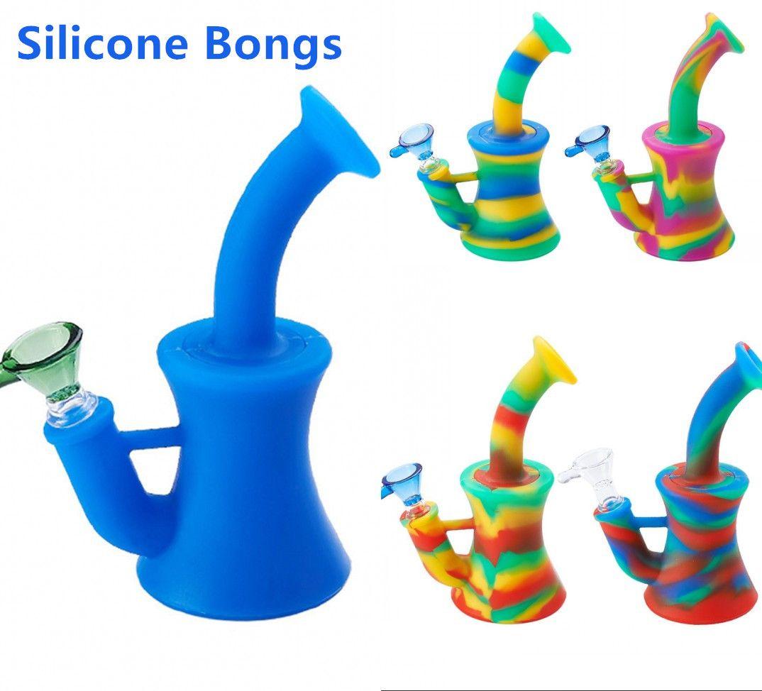 Colorido Cabezal de silicona Bongs DAB Rigs Tubo de agua BONG A BONG ACEITE A PILULA DE ACEITE CON SILICONO DOWNYMTEM 14MM Tazón de vidrio en stock FY2263
