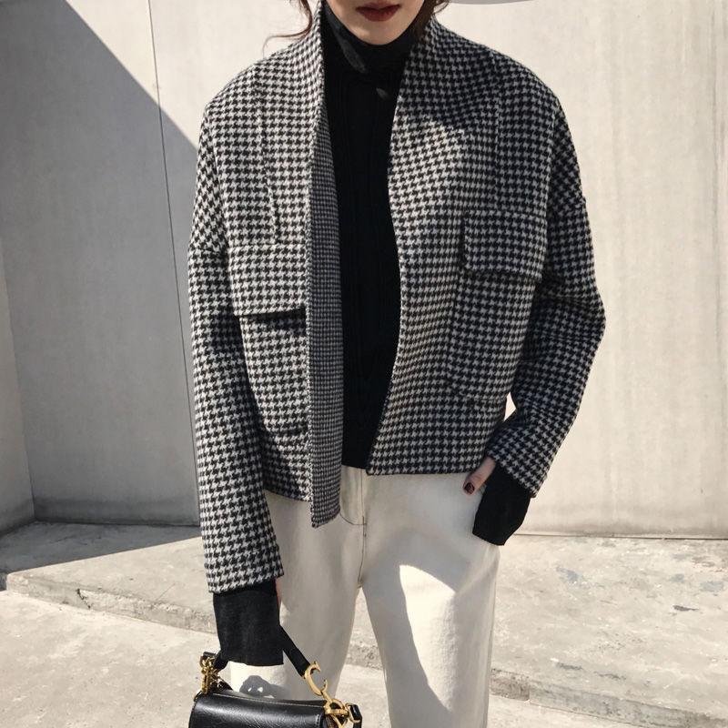 Corea Vintage Cardigan Mujeres Moda 2019 Flojo Short Winter Spress Plaid Coats Pocket Double S218 Chaqueta Abrigo de otoño Epubn de lana