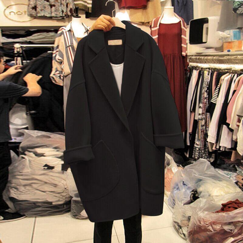 Laine pour femme petit noir automne hiver nouveau coréen lâche épaissie grosse graisse mm collège tweed manteau
