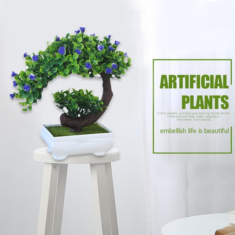 Simulation fleur croissant rose plastique fleur artificielle simulé plantes en pot de belle décoration cadeau ornement1