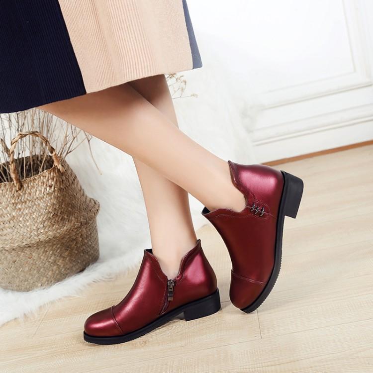Botas más talla 9 10 11-17 zapatos de mujer tobillo para mujer mujer invierno lateral con cremallera cabeza redonda tacón plano