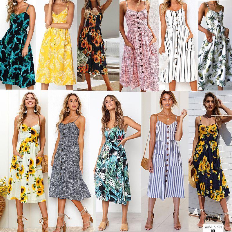 Frauen Vintage Lässige Sommerkleid Weibliche Strand Kleid Dame Boho Sexy Blumenkleider Mädchen Midi Button Backless Polka Dot Gestreifter Rock Neu Hot