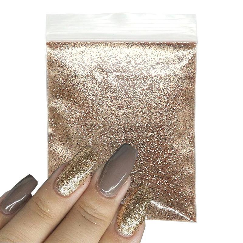 10G Sparkly Tırnak Glitter Gül Altın Toz Gevreği Pigment Toz Altın Gümüş Sandy Nail Art Sequins Jel Manikür DIY Süslemeleri