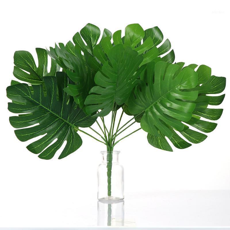 Yapay Bitkiler Yeşil Kaplumbağa Yaprakları Bahçe Ev Dekor Saksı Tropikal Bitki Palmiye Yaprak Çim Çiçek Düzenleme Peyzaj Craft1