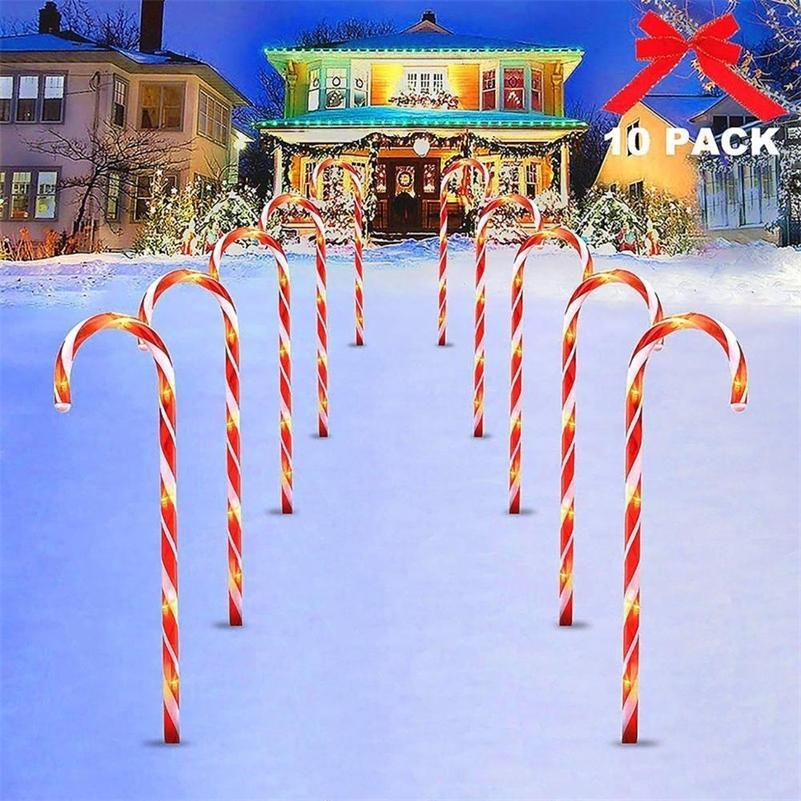 Huiran USB / Solar Energy Xmas Cane Lights Herry Рождественский декор для дома 2020 Рождественские украшения Navidad Xmas Подарок Новый год 2021 LJ201128