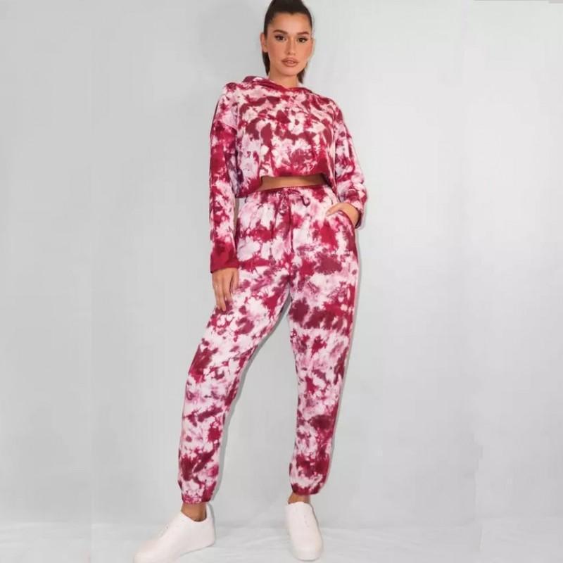 Trajes de mujer Tie tinte Dye Print Sport Traje de dos piezas Juego de mujeres Sudaderas y pantalones Trajes Otoño Invierno Streetwear Traje de chándal