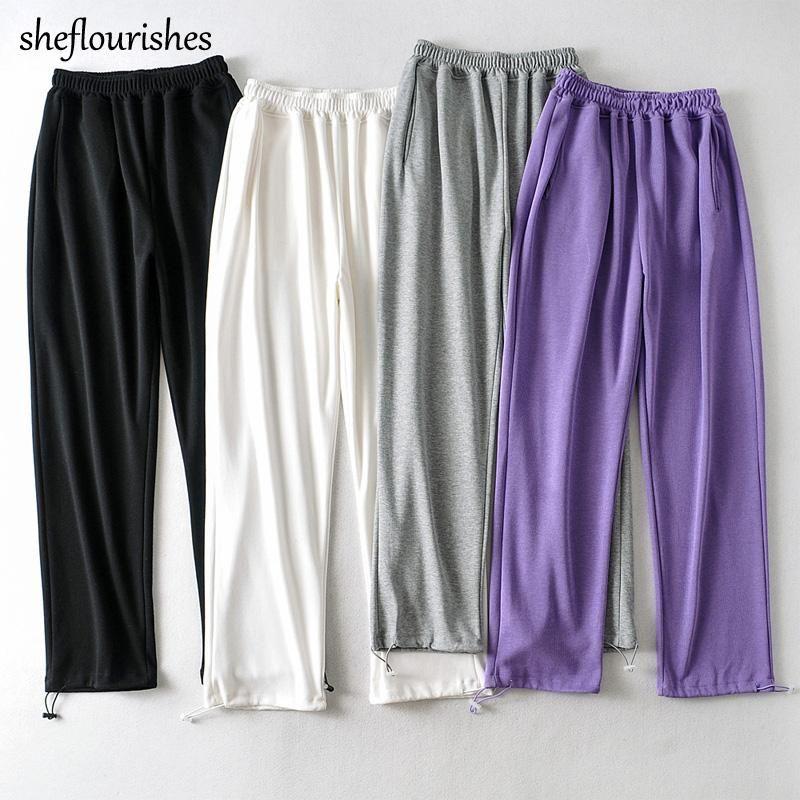 Pantalones de otoño Joggers Mujeres Vintage Sweypants Mujeres Pantalones Baggy Pantalones coreanos Altos Pantalones Blanco Blanco Invierno 2020