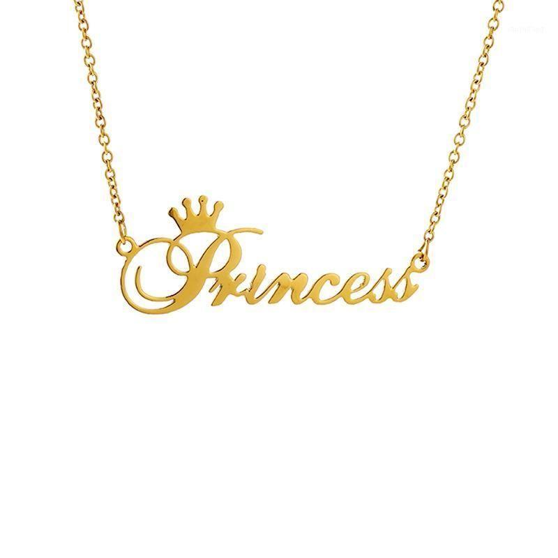 "Colares de pingente de cor de ouro personalizado ""princesa"" nome colar de aço inoxidável letra de aço inoxidável jóias panorâmicas para a filha birthda"