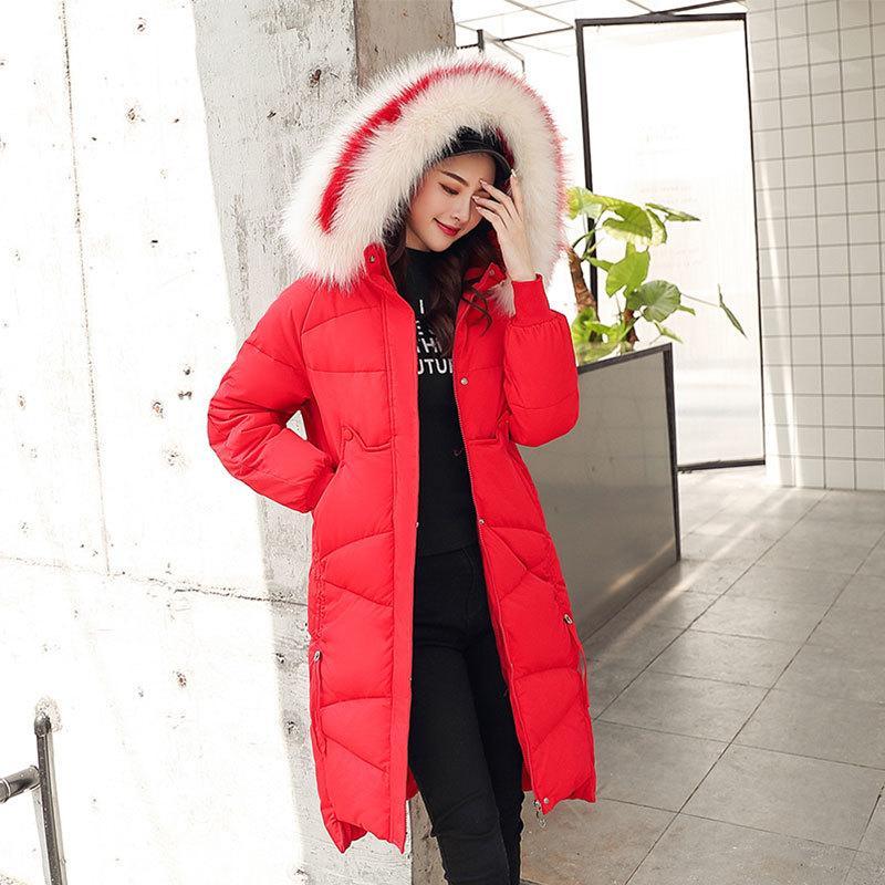 Chic Long Fur Coat Women Hooded Bakery Oversize Winter Down Coat Heavy Jacket Thick Warm Cotton Padded Wadded Parkas Big Pocket 201118