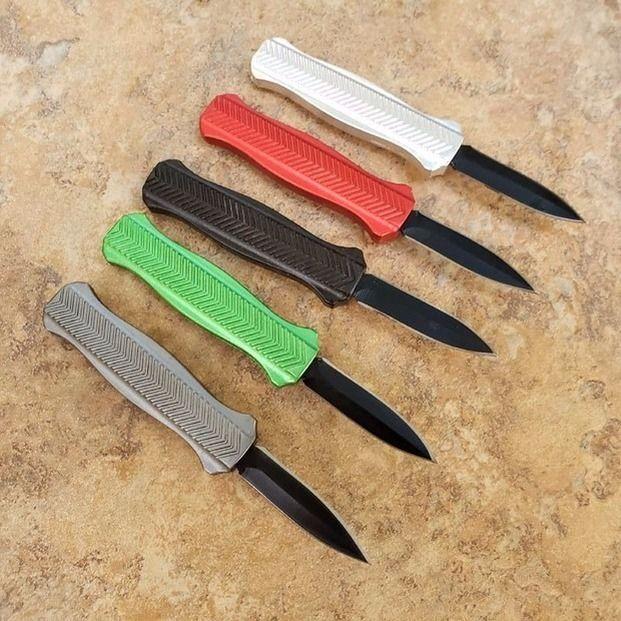 5 색 미니 포켓 나이프 나비 핸들 자동 자동 이중 액션 전술 접는 고정 블레이드 나이프 낚시 EDC 생존 도구 나이프