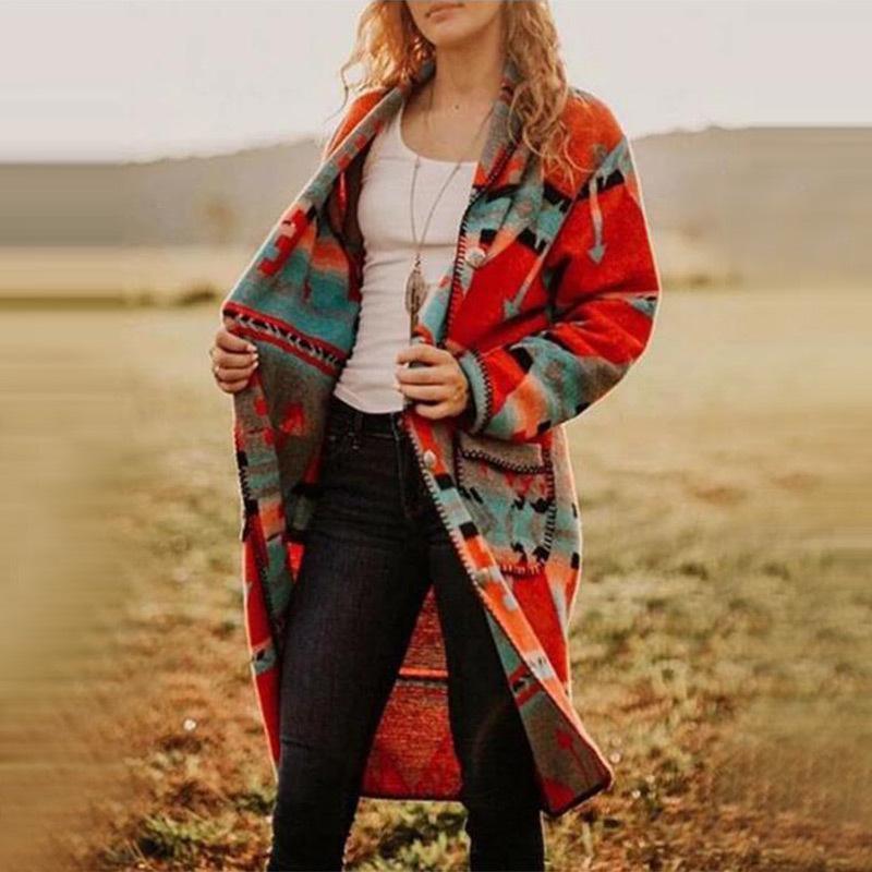 Kadın Yün Karışımları Zarif Bayanlar Ceket Tek Satır Düğme Sıcak Yün Ceket Uzun Baskı Retro Kapşonlu Rüzgarlık Kış Palto Kadın PL