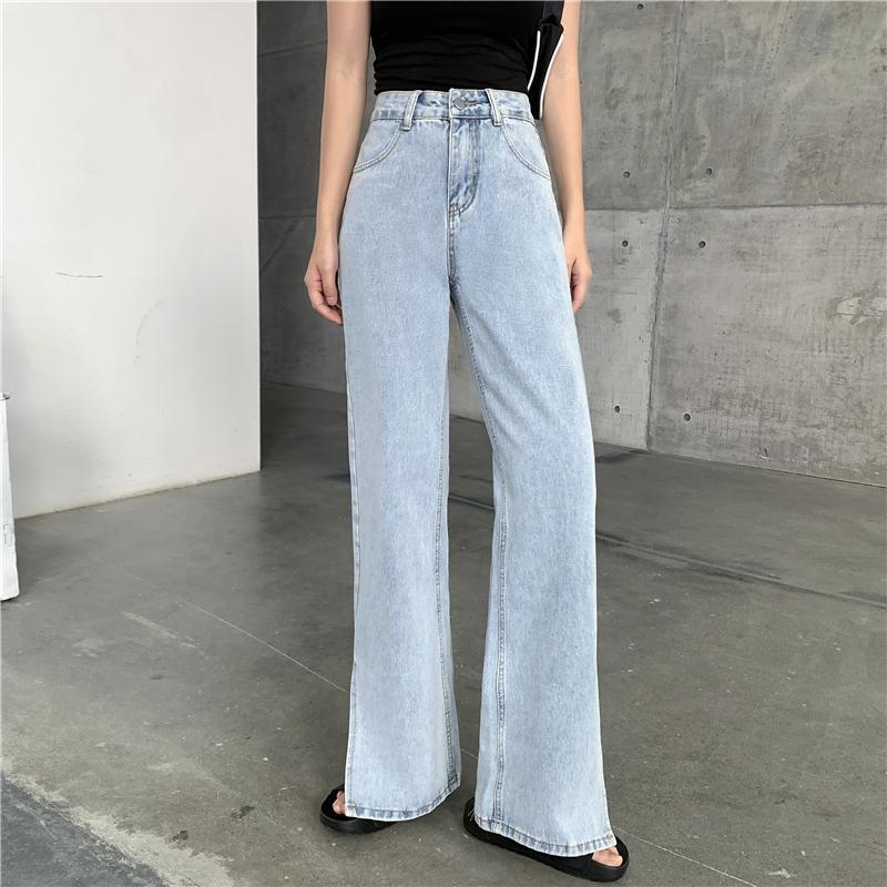 Карманные высокие талии хлопчатобумажные женские джинсы 2021 весна Новый стиль Сплит широкие брюки ноги уличные стиль ретро синие джинсы женщин