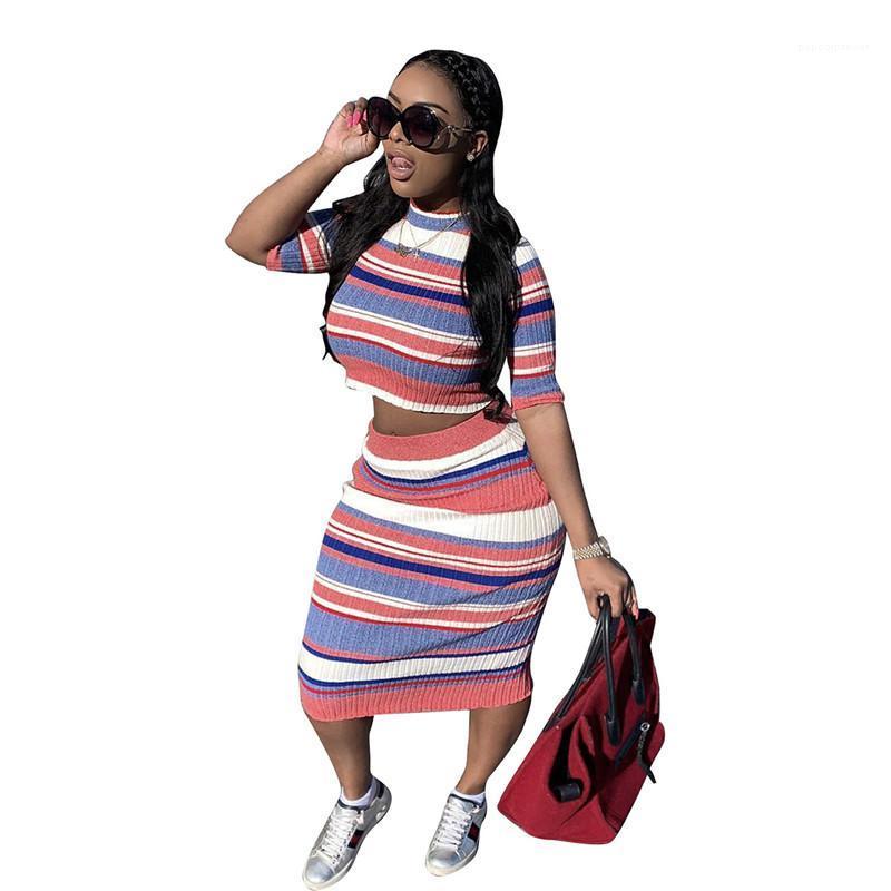 Bayan Eşofman Bayan Çizgili Baskı 2 Parça Elbise Ince Kısa Kollu Tişört Elbiseler Setleri Casual Moda