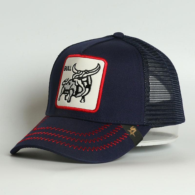 Custome 5 Pannello ricamo Patch Sports Caps Bull Cotton Animal logo Bull Mesh Trucker Cappello cappello