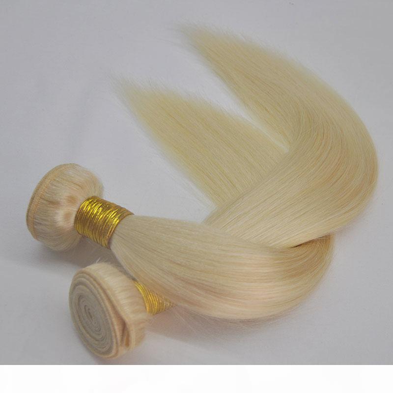 Top Grado 150g Piece 2pcs Lot 613 Blonde Bundles Seda Recta Human Hair Bundles Rubia Virgen Hair Weave 3 paquetes, DHL gratis