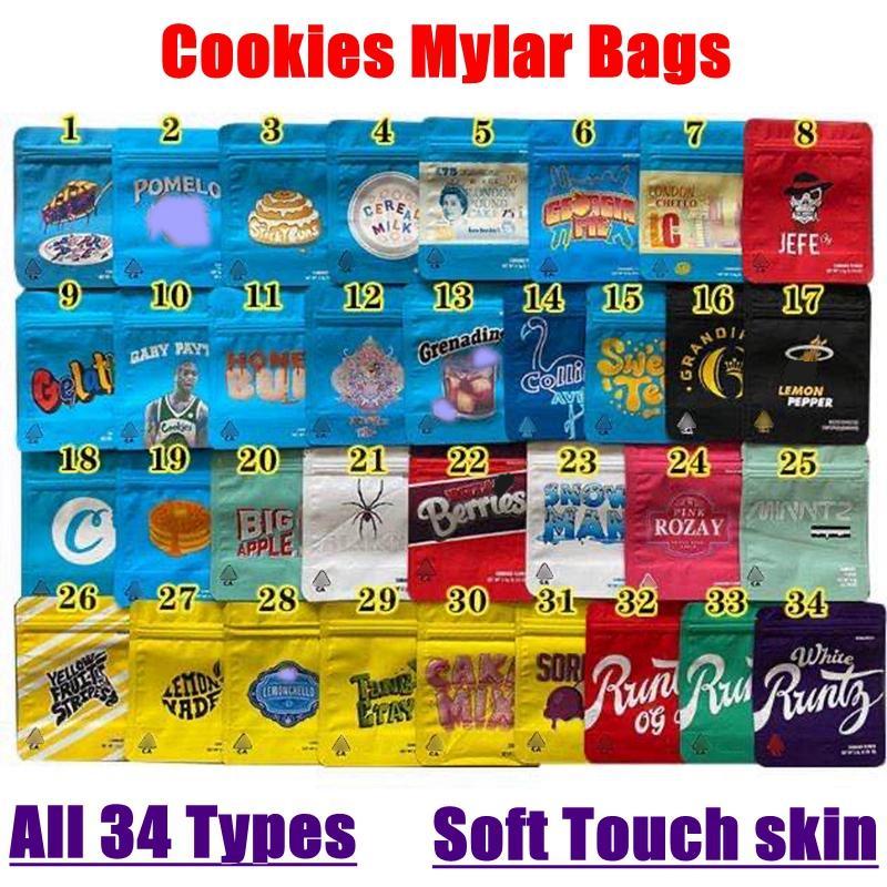 Cookies Califórnia Mylar Bags 34 Tipos 3.5G Embalagem Saco Bolo Mistura Pomelo Blanco Grandiflora Lemonchello Honey Bun Berry Pie Wonderbrett Smell Prova Resealable Bagg