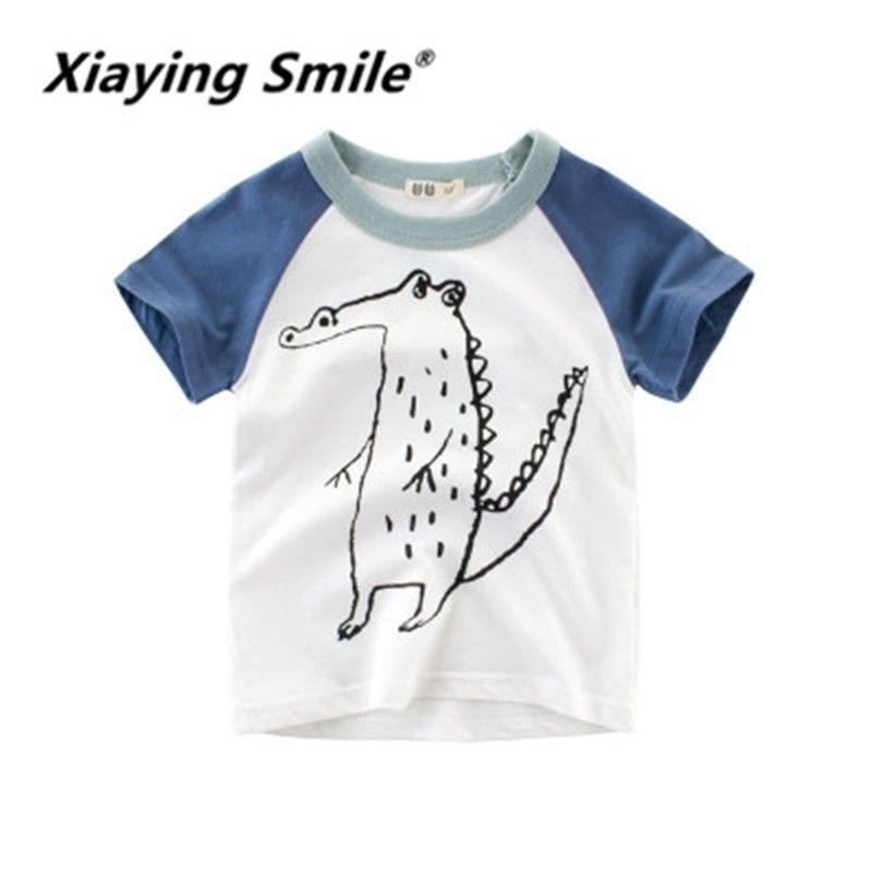 Xiay Sorriso Crianças Verão Crianças Meninos T-shirt de Manga Curta T-Shirt Crianças Roupas Chaobao Roupas podem ser atacado Y200409