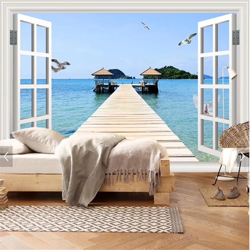Fondos de pantalla personalizada Fotomural Fondo de pantalla 3D Ventana Francesa Vista al mar PO Sala de estar Dormitorio TV Fondo Papeles Decoración del hogar