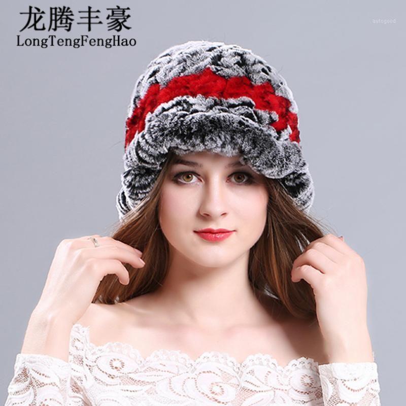Venta caliente Sombrero de mujer Moda Real Hecha de punto Rex Sombreros de Piel Dama 2020 Invierno Charm Cálido Gorros Caps Cap Pap Hechas Hats Lady1