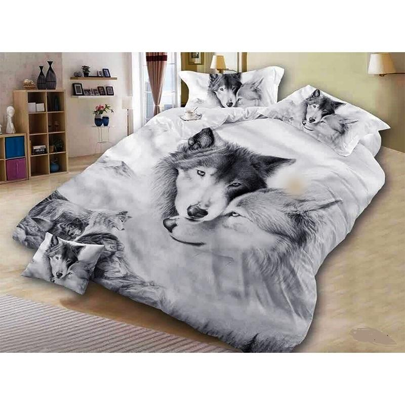 Wolf Couple Bedding Sets Cool Grey Lovers Wolf Duvet Cover Set 3D Vivid Comforter Cover 3pcs Twin Full Queen King Y200417