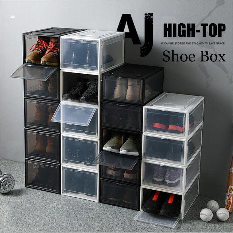 التجميع حذاء تخزين مربع البلاستيك شفاف كرة السلة الأحذية حالة جمع عرض الأحذية مجلس الوزراء حذاء فليب غطاء الرجال النساء صناديق الأحذية
