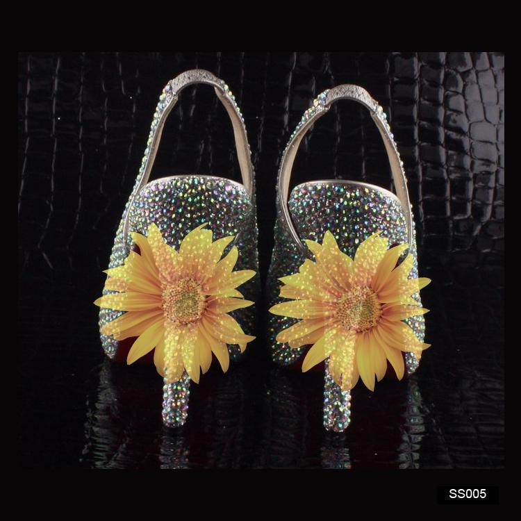 SS005 Em armazém prata sapatos de casamento altura com cristais Beads Bombas sapatos de salto alto de noiva