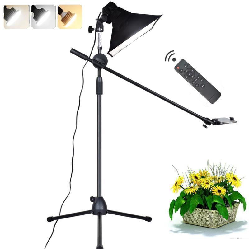 Photographic encher de luz LED lâmpada reflectora Softbox 1.3m Piso tripé suporte do braço Telefone Vídeo ao vivo tiro Photo Studio