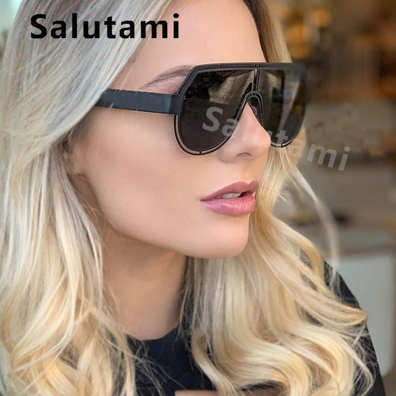 Güneş gözlüğü için çerçeve için hollow boy kalkan gözlük 2020 bir güneş düz kadın parça retro kadınlar alaşım erkek shades dusem