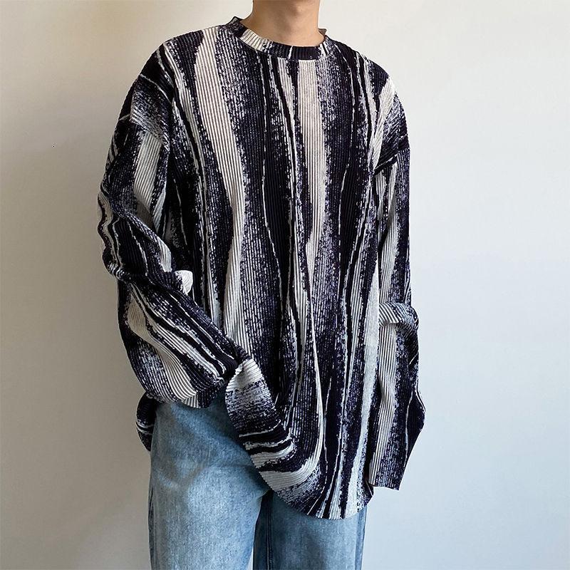 T-shirt a strisce da uomo in stile coreano Moda a maniche lunghe Retro casual T Shirt T Shirt da uomo Streetwear Streetwear Selvatico Autunno T-shirt T-shirt Tops