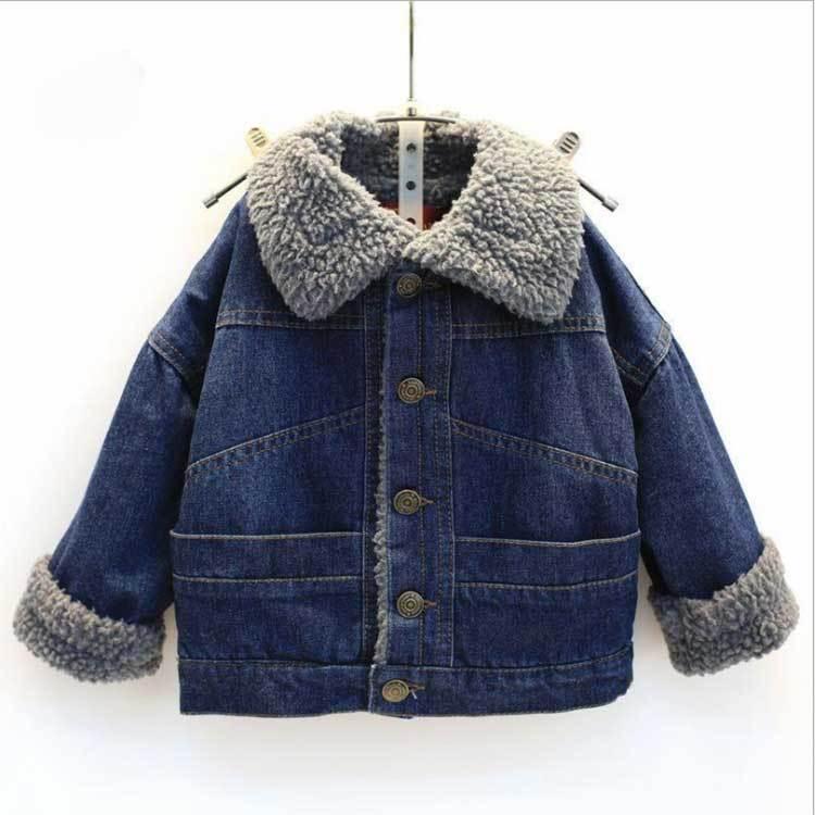 معطف للأطفال الدينيم بنين بنات القطن مبطن سترة في الخريف والشتاء