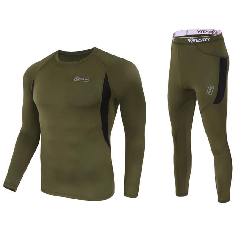 Hiver Top Quality Nouveaux Ensembles thermiques Compression Terre Sweat Séchoir rapide Thermo Sous-vêtements Hommes Vêtements