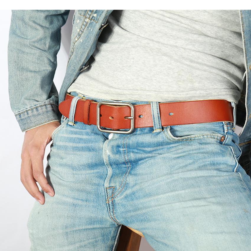 Урожай 100% натуральный кожаный ремень для мужчин Высококачественные натуральные коровьи кожаный мужской ремень мужской ремень для джинсов или штанов Y0121